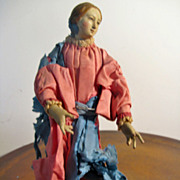 NEAPOLITAN Painted Terracotta and Wood CRECHE Blessed Mother Figure