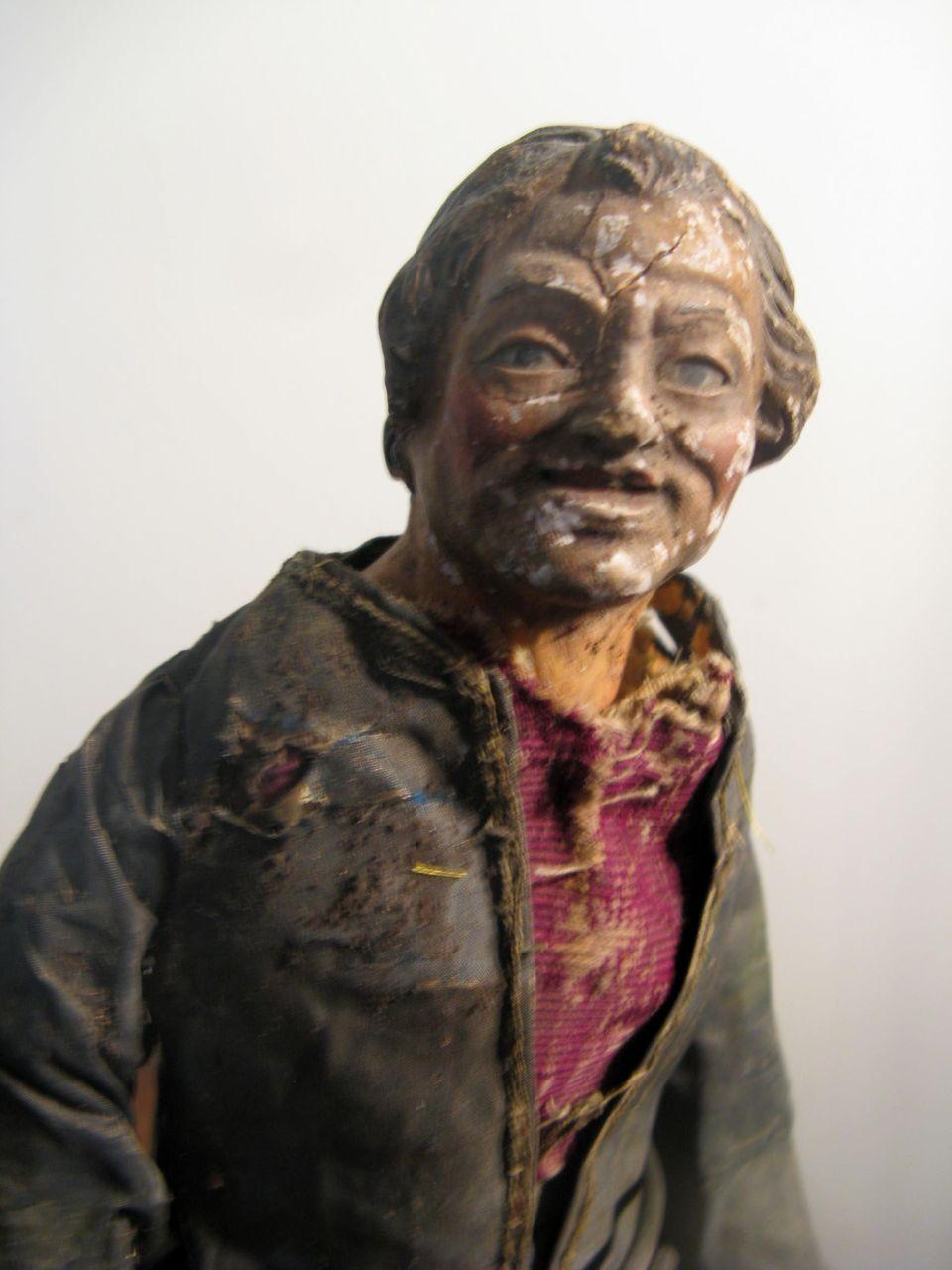 NEAPOLITAN Man Painted Terracotta And Wood CRECHE Figure