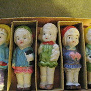 Adorable Japanese All Bisque Immobile Dolls