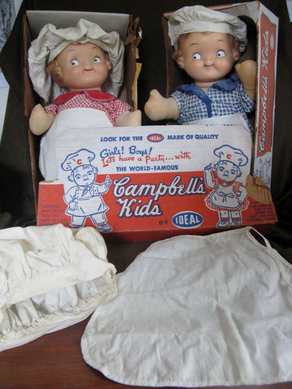 """Pair of Very Rare Vintage 16"""" IDEAL Campbell's Kids"""