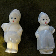 2 Vintage Miniature Porcelain Delft Boy and Girl 1.5""