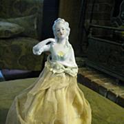 "Antique German ""Marie Antoinette"" Half Doll"" on Silkened Cage"