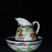 Antique Water Bowl and Pitcher