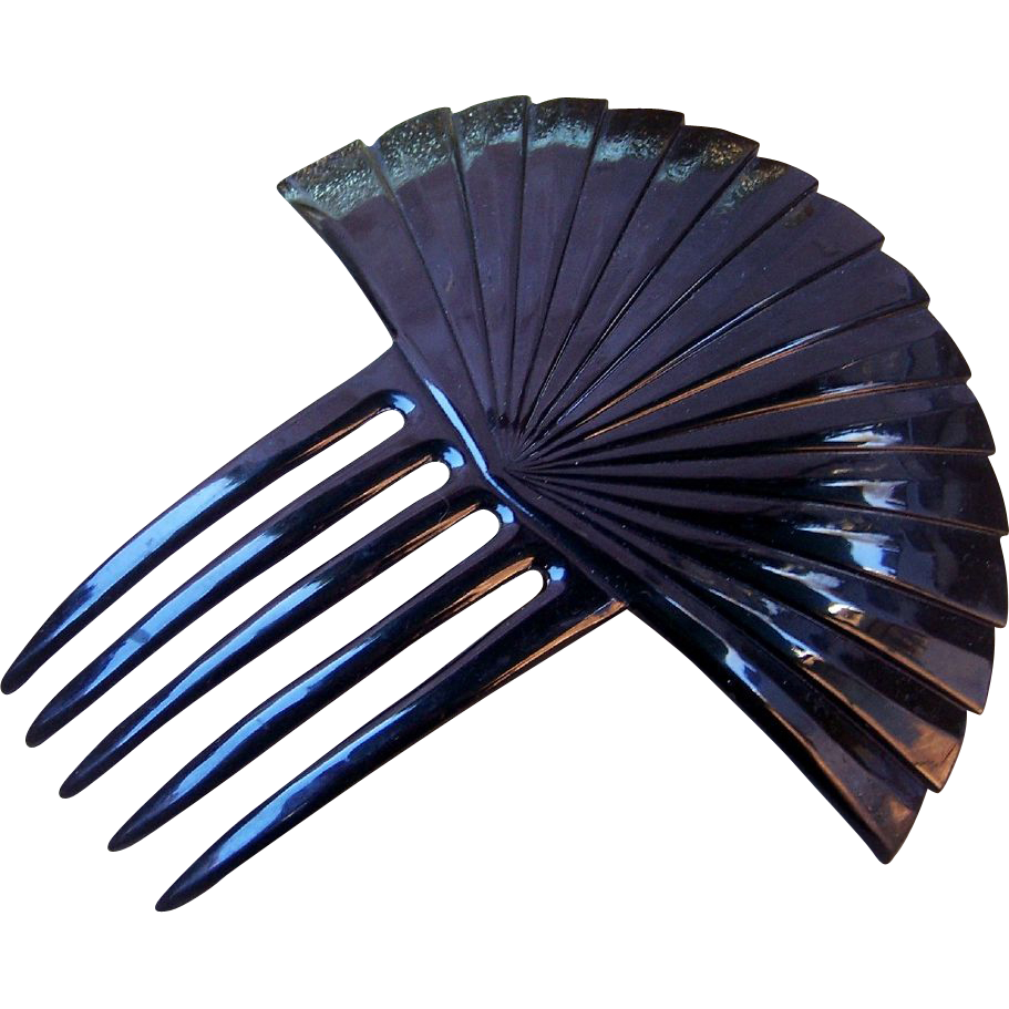 Hair Comb Art Deco Black Celluloid Sunray Design Hair Accessory