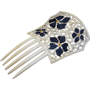 French Ivory Floral Hair Comb French Ivory With Jet Rhinestones