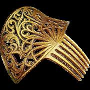 Gold Glitter Hair Comb Confetti Lucite Art Deco Period
