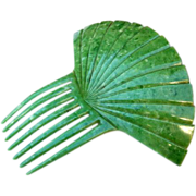 Jade Green Hair Comb In Spanish Style Sunray Pattern