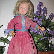Antique Mulberry Stripe 2 Piece Doll Dress Trimmed with Blue