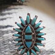 Vintage 1940s Stunning Huge Native American Petit Point Squash Blossom Turquoise and Sterling Silver Ring