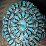 Spectacular Signed Vintage Navajo Turquoise and Sterling Signed Cluster Cuff Bracelet