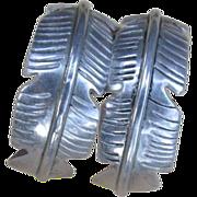 Sterling Feather Hoop Earrings : Large Vintage Mexican Silver