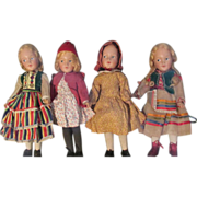 Rare Museum Quality Early Set of 4 Hedwig - deAngeli Dolls