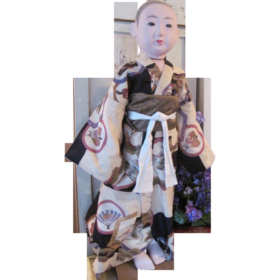 Incredible Huge Rare Vintage Japanese Ichimatsu Ningyo Boy Doll Showa Period