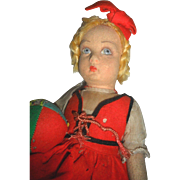 Early Lenci Girl Doll with Patchwork Ball TLC