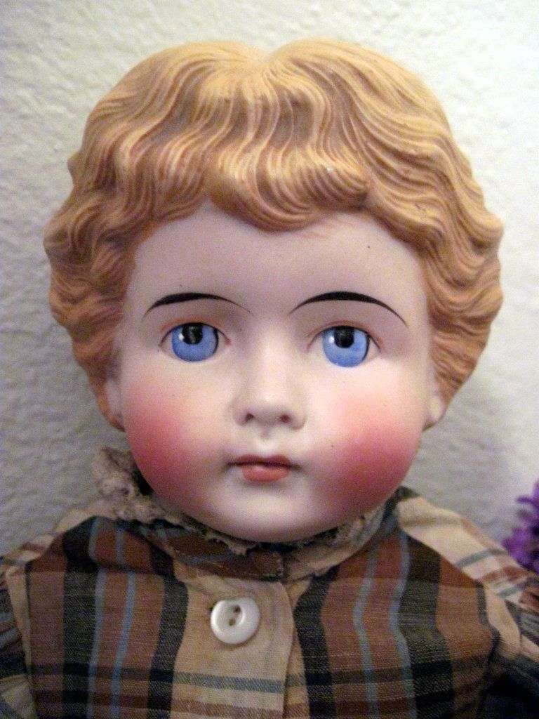 Glorious Antique German Kling Blond Bisque Head Highland Mary Doll