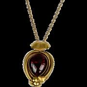 Cabochon garnet & 15ct gold pendant circa 1870