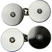 How to get ahead! Smart highly polished platinum and diamond cufflinks