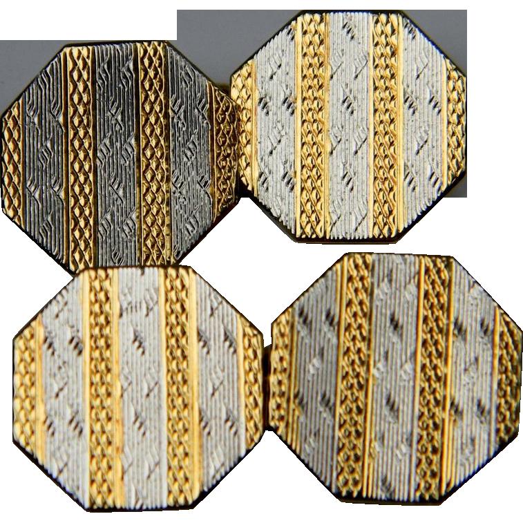 Smart Platinum and 18K hallmarked Octagonal Edwardian cufflinks