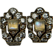 Moonstone and Diamond Art Deco Clip earrings (1111)