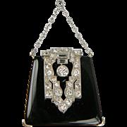 Attention all Handbag collectors!! Onyx and Diamond Handbag Pendant Necklace (1131)