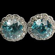Blue Zircon and Diamond Earstuds