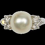 Cultured Pearl, Diamond & Platinum Ring