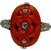 Art Deco Coral & Diamond Ring