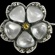 Yellow Diamond, Moonstone & Diamond Flower Brooch