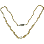 Art Deco Graduating Cultured Pearl Necklace with a Beautiful Diamond Clasp