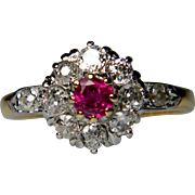 Edwardian Ruby and Diamond Cluster Ring