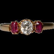 Victorian Cushion Cut Diamond and Ruby Ring