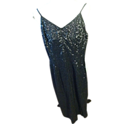 1950's Black Hand Sequined Cocktail Dress with Spaghetti Straps