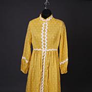 Fabulous Vintage Lori Till Yellow Polka-dot Long Dress 1960s Size Small Plus Free US Shipping