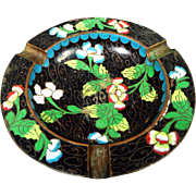 Vintage Chinese Cloisonne Enamel Brass Ashtray Ash Receiver