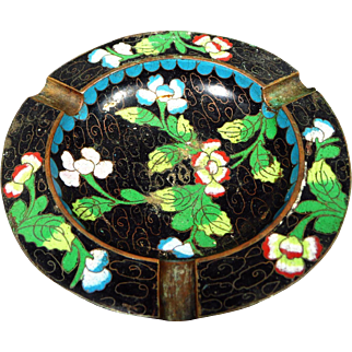 Vintage Chinese Cloisonne Enamel Brass Ashtray Ash Receiver