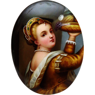 """SALE 50% OFF - Antique 19th Century Miniature Porcelain Painting after Titian's """"Young Girl Holding Fruit Tray"""""""
