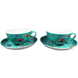 SALE 50% Off - Antique Chinese Famille Rose Green Ground Cups Saucers Qianlong Mark Qing Dynasty