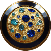 Stunning Vintage Cobalt Blue and Gold Jeweled Encrusted Rhinestone Compact from Great Britain