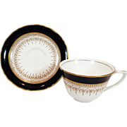 Royal Worcester Regency Cobalt Blue Cup and Saucer Plus Free US Shipping
