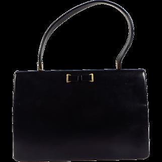 Vintage 1950s English Waldybag Black Leather Kelly Handbag Unique Clasp Interior Tan Suede Lined