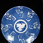 Japanese Arita Blue & White Charger Three Friends of Winter & Free US Shipping