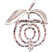 Vintage Saucy Apple Silver Tone Pin Brooch Sarah Coventry Plus Free US Shipping