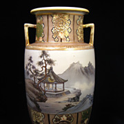 Very Large Stunning Noritake Nippon Vase Urn with Asian Scene and Gorgeous  Gilt  Work
