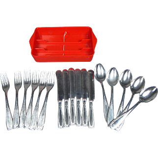 SALE Doll or Child's 17 Piece Metal Silverware by Sigg Switzerland with Tray
