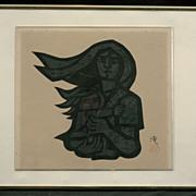 """Jiro Takidaira Woodblock Print """"Mother and Child""""  c.1965"""