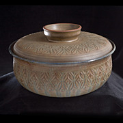 "Sylia Clark and Wanda Styron ""68"" Mid Century Ceramic Lidded Bowl"