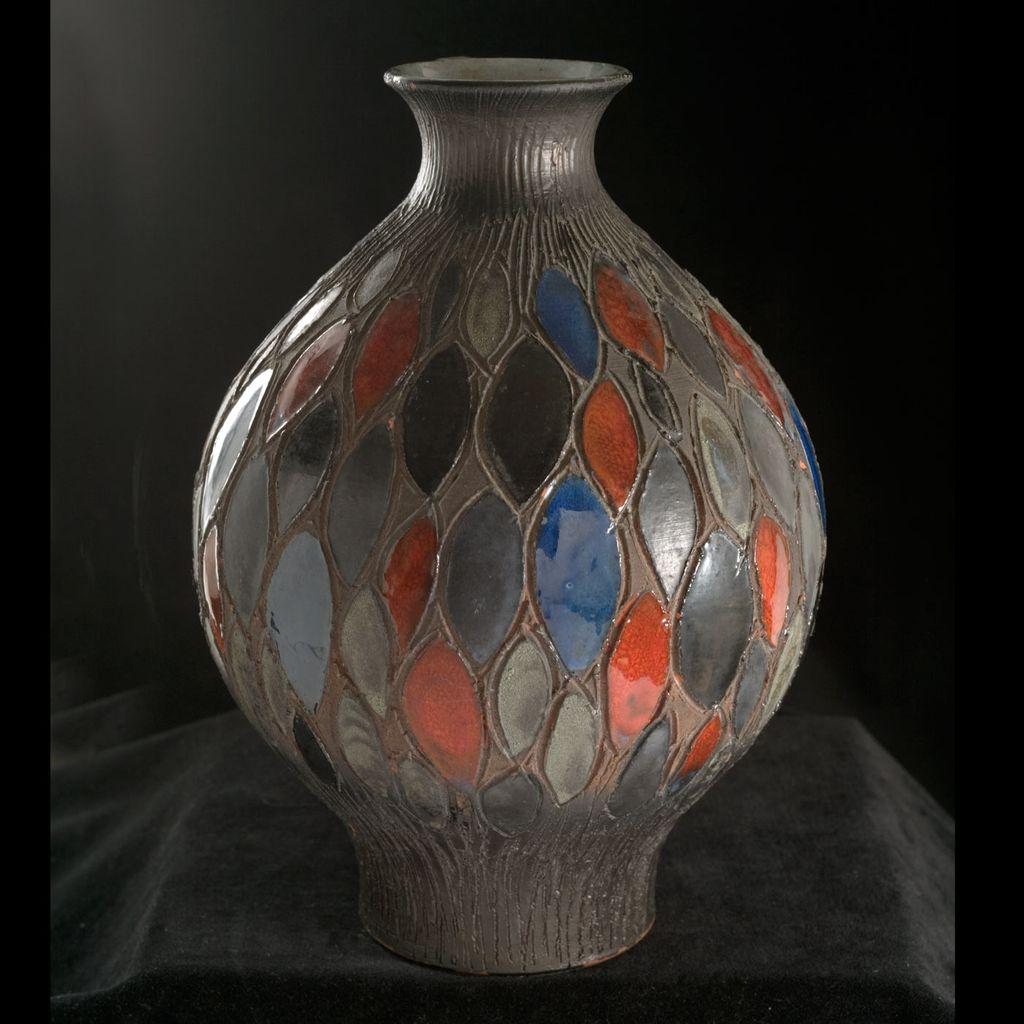 Magnificient Mid-Century  Studio Vase Incised Polychrome Geometric Design