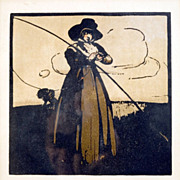 """May"" Color Lithograph ""An Almanac of Twelve Sports"", William Heinemann, William Nicholson 1898."