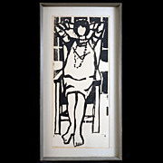 Exceptional and Large Mid-century Woodcut Print by Flip van der Burgt