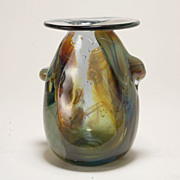 Rare Early 1970's Biomorphic Free-Form Glass Vase byJim and Connie Grant